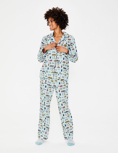 Cosy Woven Pajama - Ice Grey London Scene