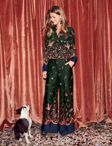 Weybourne Wideleg Trousers - Chatsworth Green Wonderland