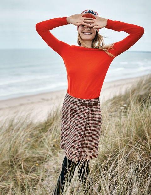 Faye Tweed Kilt - Fawn and Red Windowpane