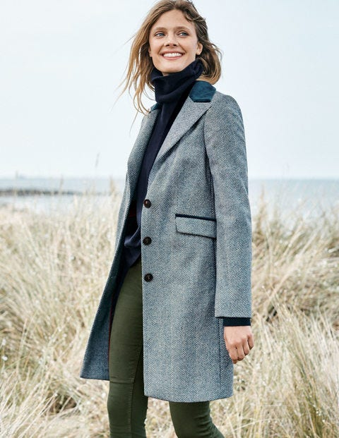 Eastbourne Coat - Blue Herringbone