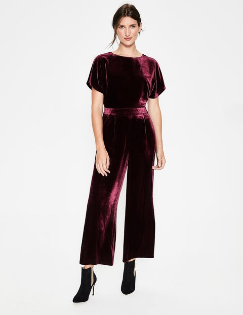 Aston Velvet Jumpsuit - Mulled Wine