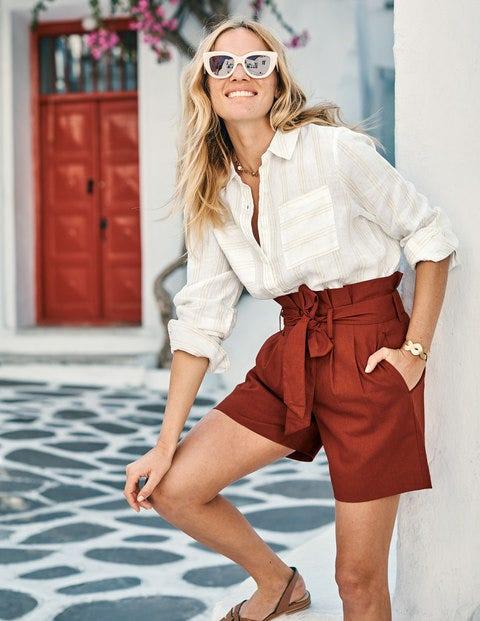 St. Ives Paperbag-Shorts - Kastanienbraun
