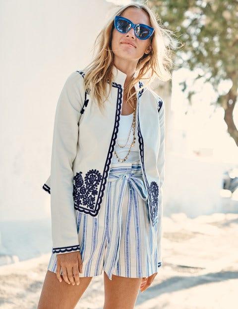 St Ives Paperbag Shorts - Cobalt Stripe