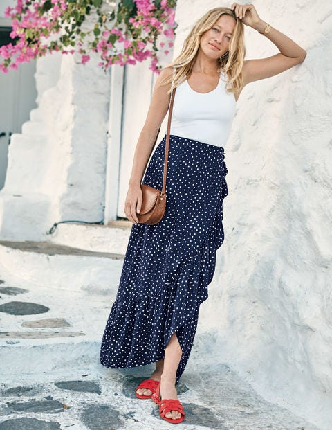Florence Maxi Skirt - Navy and Ivory, Polka Dot