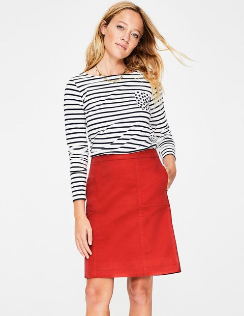 Helena Chino Skirt - Red Pop