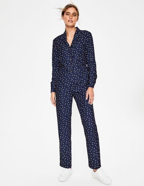 Tillie Jumpsuit - Navy and Ivory, Scattered Dot