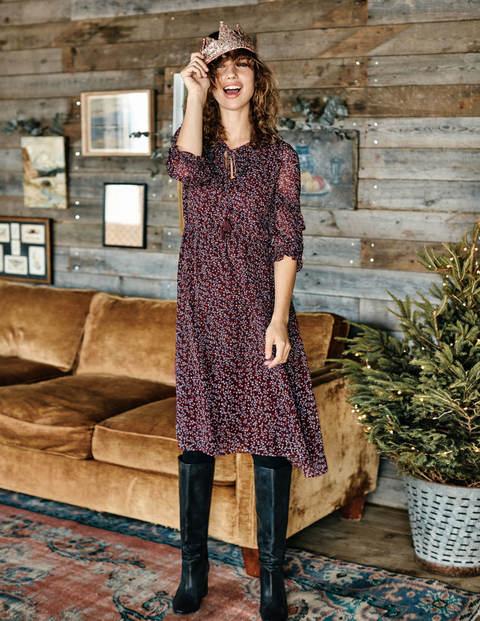 Iona Midi Dress - Dark Burgundy, Twinkle Vine