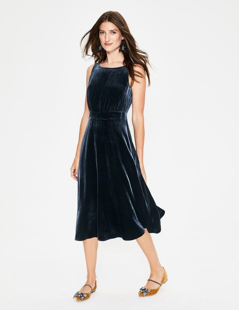 Thomasina Velvet Midi Dress - Navy