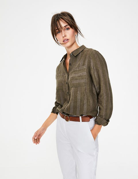 Linen Shirt - Khaki Metallic Stripe