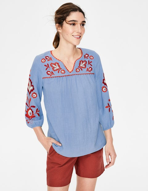 Abigail Embroidered Top - Heron Blue