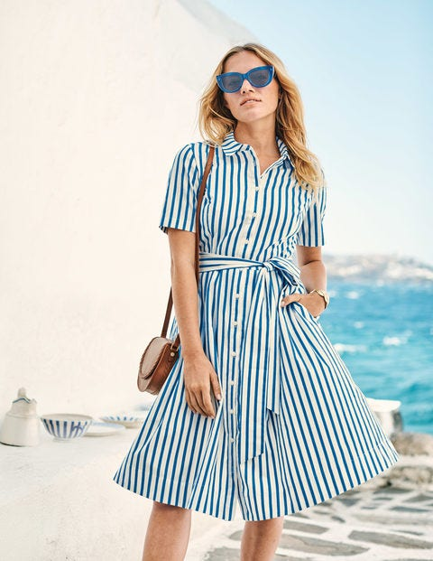 Anastasia Shirt Dress - Blue Stripe