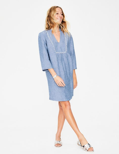 Evangeline Linen Tunic - Light Chambray