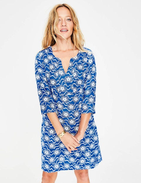 Casual Linen Tunic - Cobalt, Starry Wave