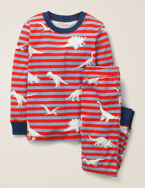 Glow-In-The-Dark Pajamas - Poppadew Red/Grey Dinosaurs