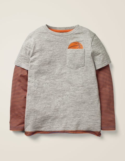 Layered Graphic Pocket T-Shirt - Grey Marl