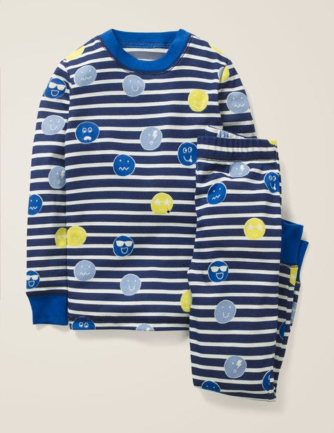 Cosy Long John Pyjamas - Starboard Blue/Ecru Faces