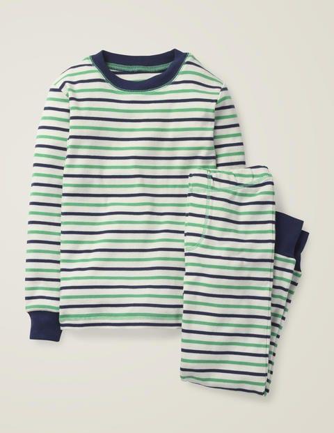 Bequemer Langer Schlafanzug - Ecru/Astrogrün