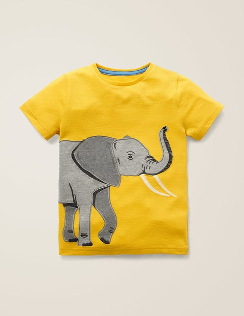 Big Animal Appliqué T-Shirt - Mustard Yellow Elephant