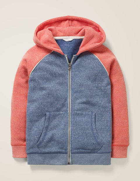 Supersoft Zip-up Hoodie - Lagoon Blue Marl/Red Marl