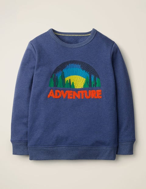 Textured Adventure Sweatshirt - Navy Blue Marl Adventure
