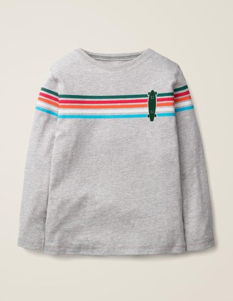 T-Shirt Mit Regenbogenstreifen - Mittelgrau, Skateboard