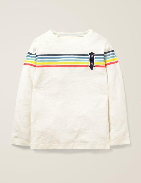 Rainbow Stripe T-Shirt - Ivory Skateboard