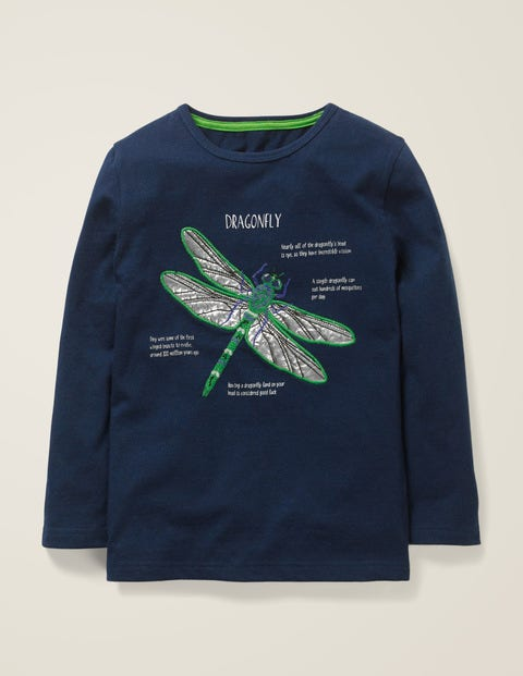 Insect Facts T-Shirt - Navy Marl Dragonfly