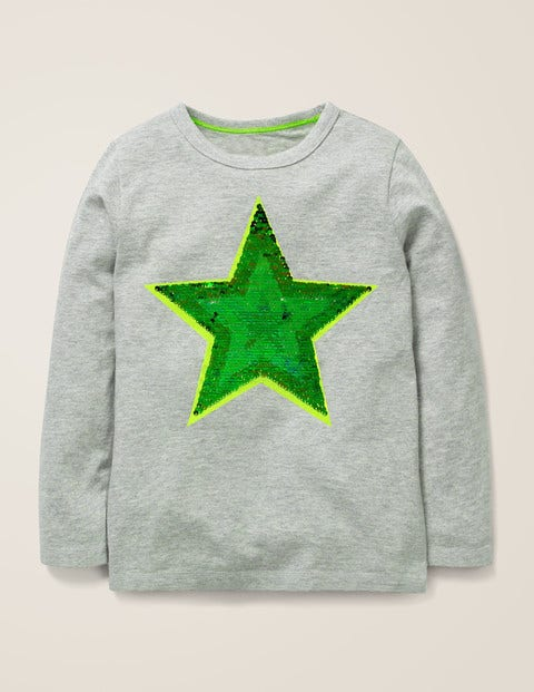 Sequin Colour Change T-Shirt - Grey Marl Star