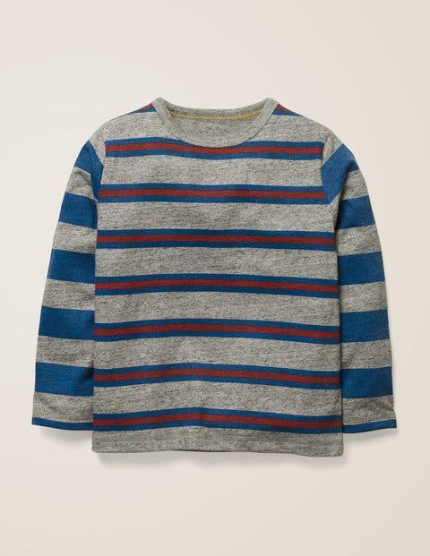 T-Shirt Mit Streifen Und Mustermix - Mittelgrau Jaspiert/Königsblau