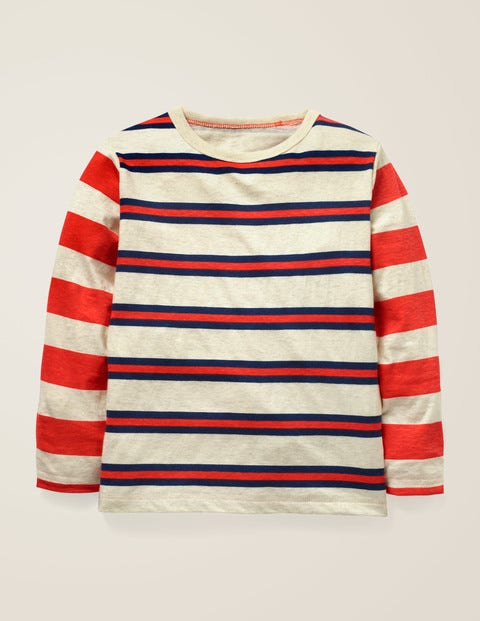 Hotchpotch Stripe T-Shirt - Oatmeal Marl/College Blue