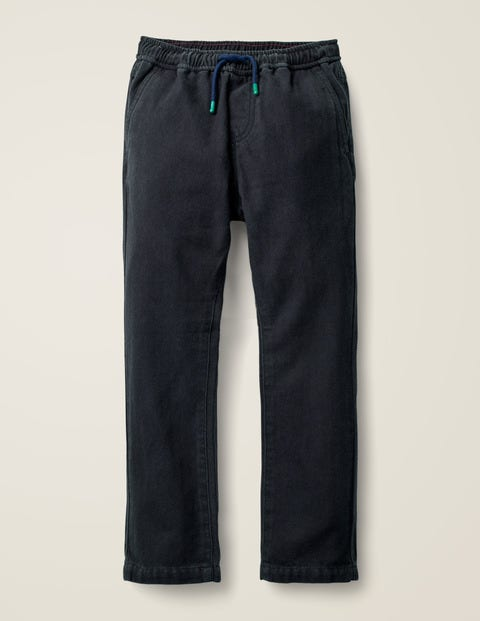 Relaxed Slim Pull-On Trousers - College Blue Herringbone