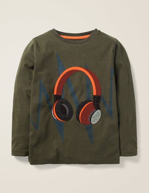 Music Appliqué T-Shirt - Classic Khaki Headphones