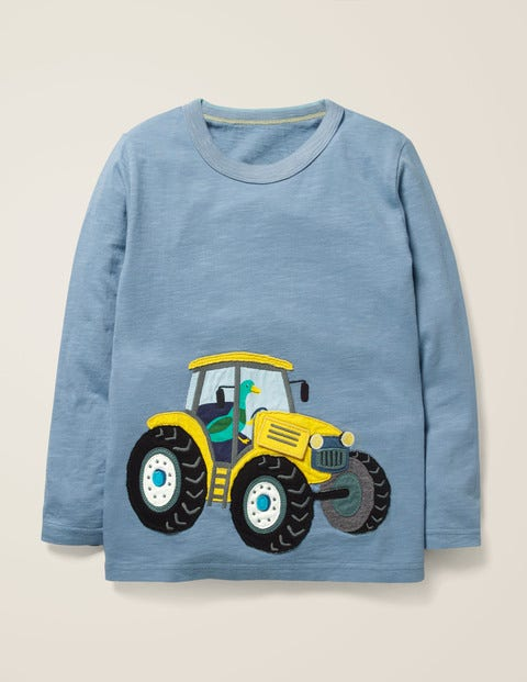 Novelty Vehicle T-Shirt - Wren Blue Tractor