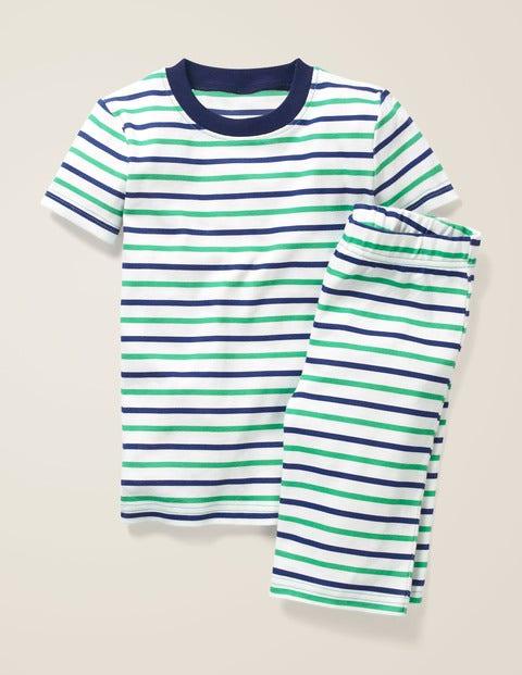 Cosy Short John Pajamas - Ecru/Astro Green