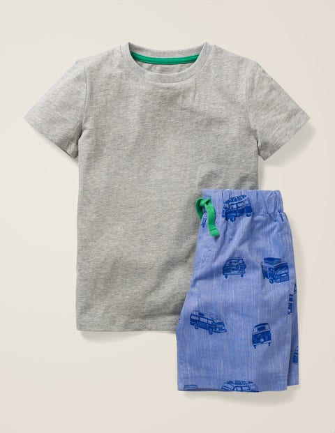 Short Pyjama Set - Blue Chambray Camper Vans