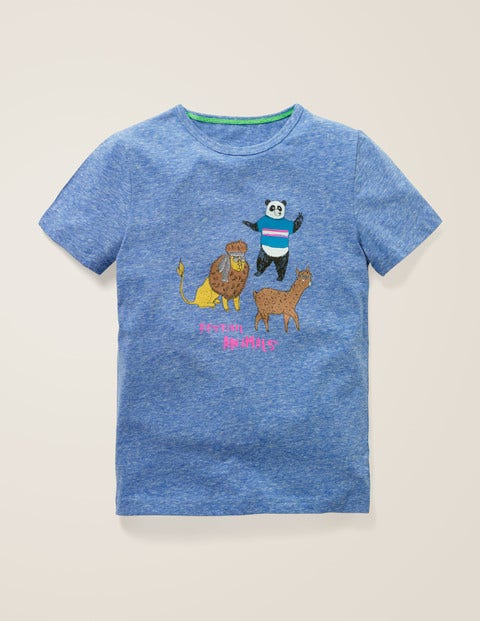 Fun Printed T-Shirt - Duke Blue Marl Animals