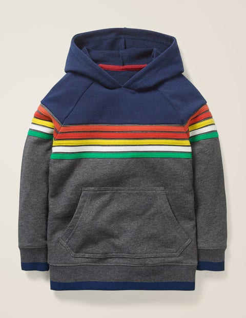 Rainbow Stripe Hoodie - Dark Grey Marl Rainbow