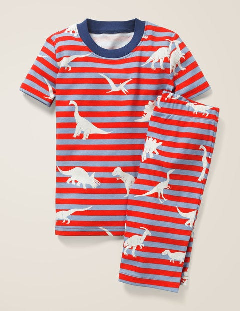 Glow-In-The-Dark Short Pajamas - Poppadew Red/Grey Dinosaurs