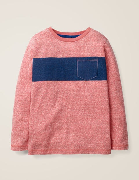 Bold Stripe T-Shirt - Red Marl/Heron Blue