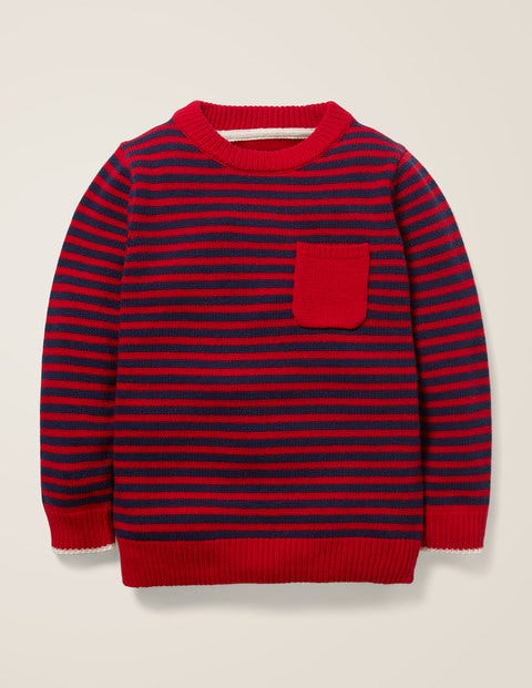Essential Crew Sweater - College Blue/Rockabilly Red