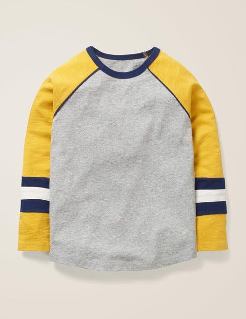 T-shirt à manches raglan - Gris chiné/jaune moutarde