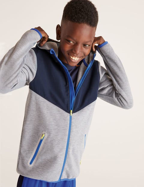 Active Zip-Up Hoodie - Grey Marl/Navy Blue
