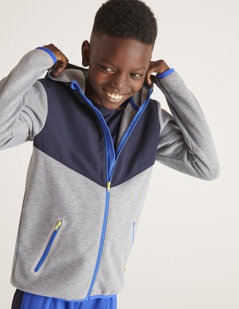 Active Zip-Up Hoodie - Grey Marl/Navy Blue