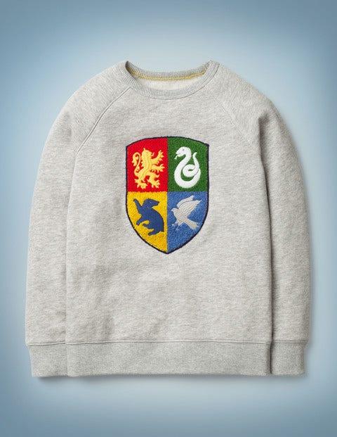 Sweatshirt mit Hogwarts-Wappen - Grau Meliert