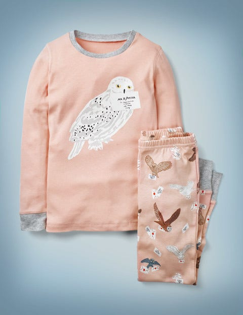Harry Potter Long John Pajamas - Provence Dusty Pink Hedwig
