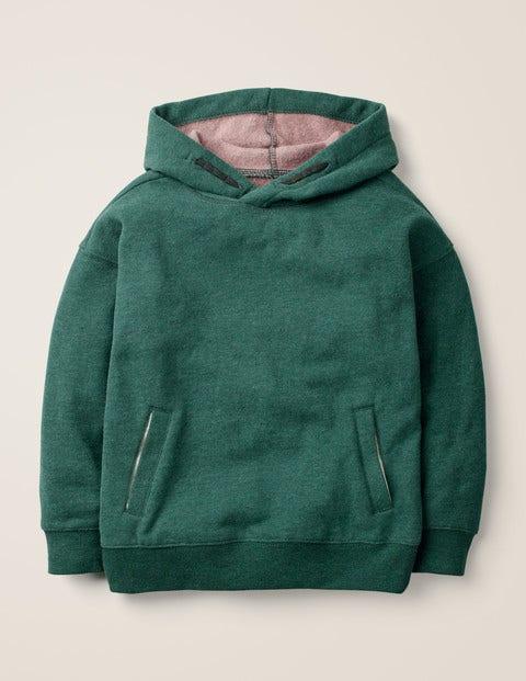 Hoodie Mit Überschnittener Schulter - Dunkles Smaragdgrün Meliert