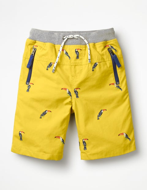 Adventure Shorts - Mimosa Yellow Mini Toucans