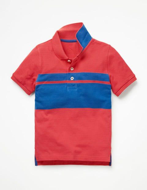 Polo En Piqué - Bleu duc/rouge confiture