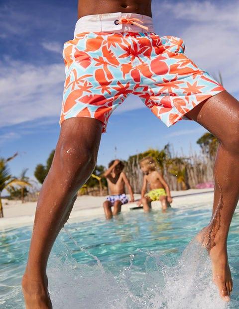 Poolside Shorts - Neon Orange Pineapple Palm
