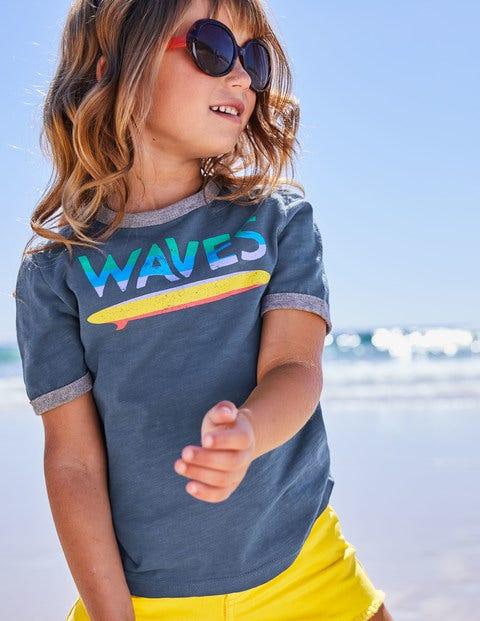 Graphic Slogan T-Shirt - Lagoon Blue Surfboard